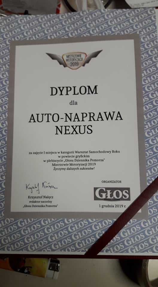 auto mechanik gryfice nexus dyplom